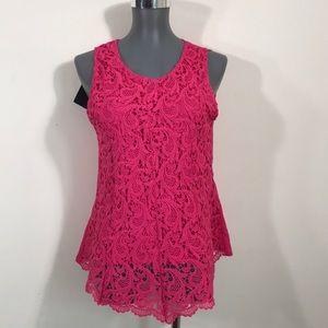Lace pink blouse medium